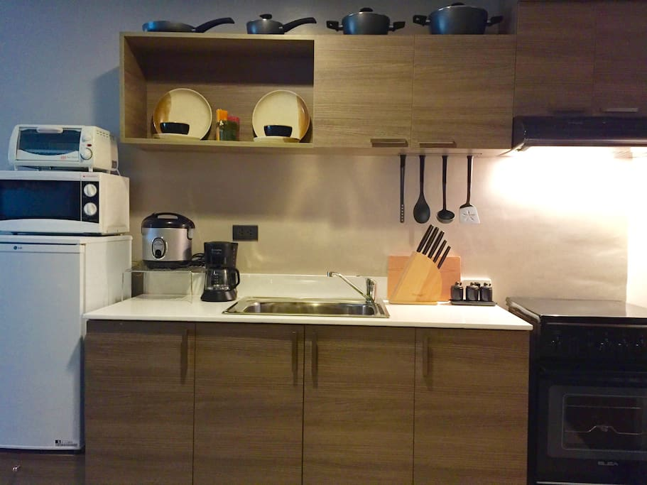 Furnished kitchen with modest countertop along with  cabinets with inside drawers and shelves