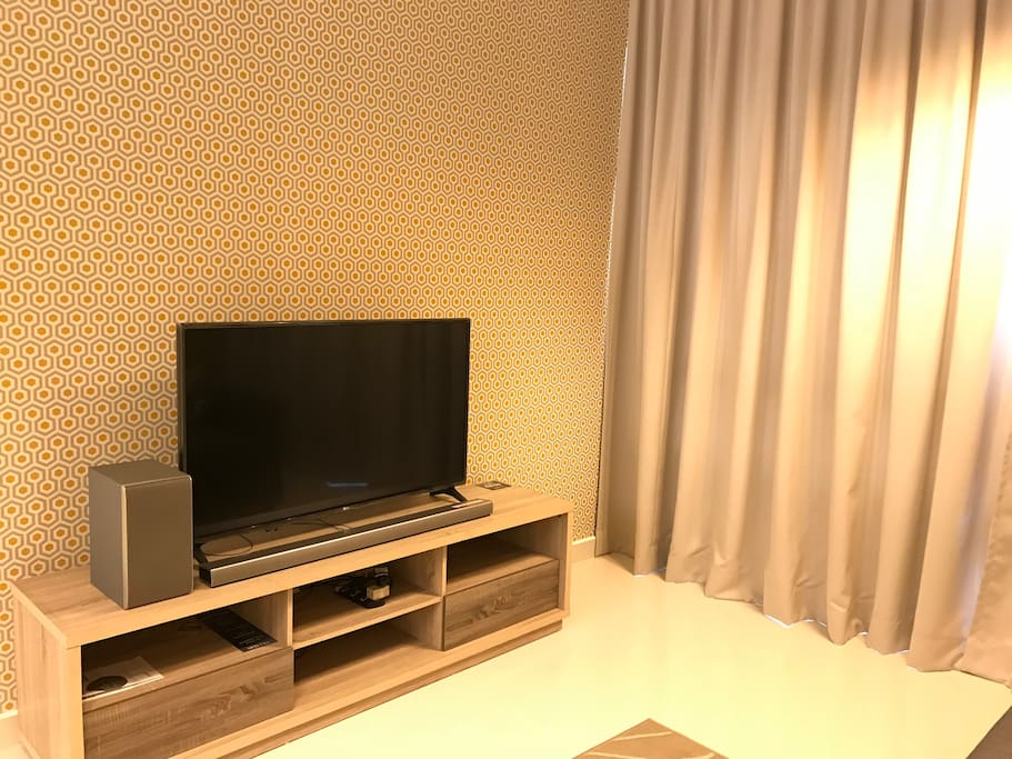 Living Room with Smart TV and TV Cabinet