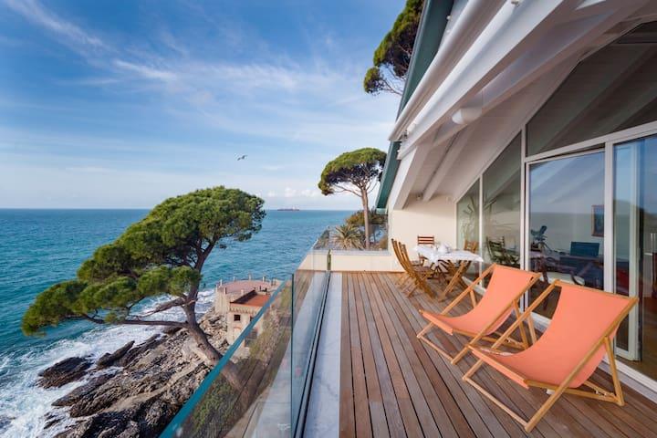 Luxury seaside attic with private sea access