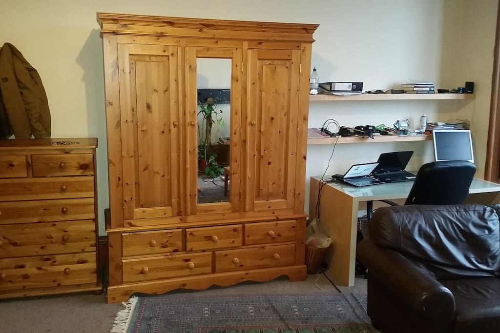 Desk, closet and chest of drawers
