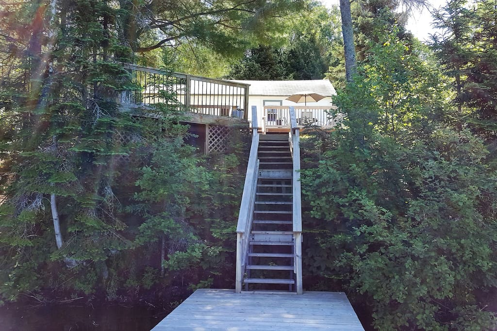 Stairs down to lake