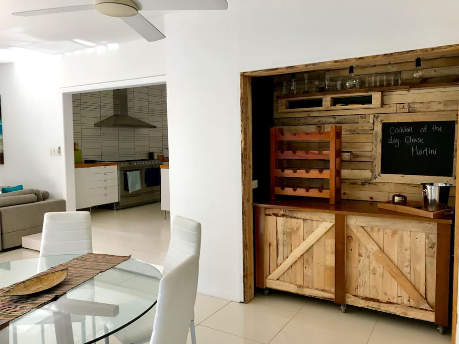 The built in bar is fully functional for all your cocktail creations!