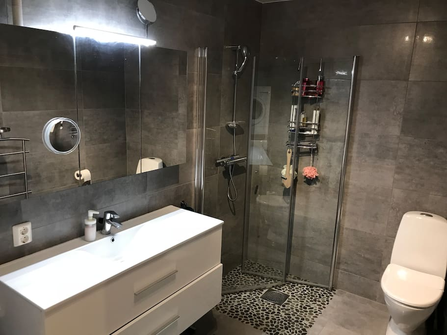 Shared bathroom at the first floor with shower