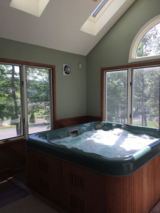 Hot tub on main level
