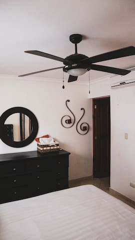 Fan and A/C in the bedroom