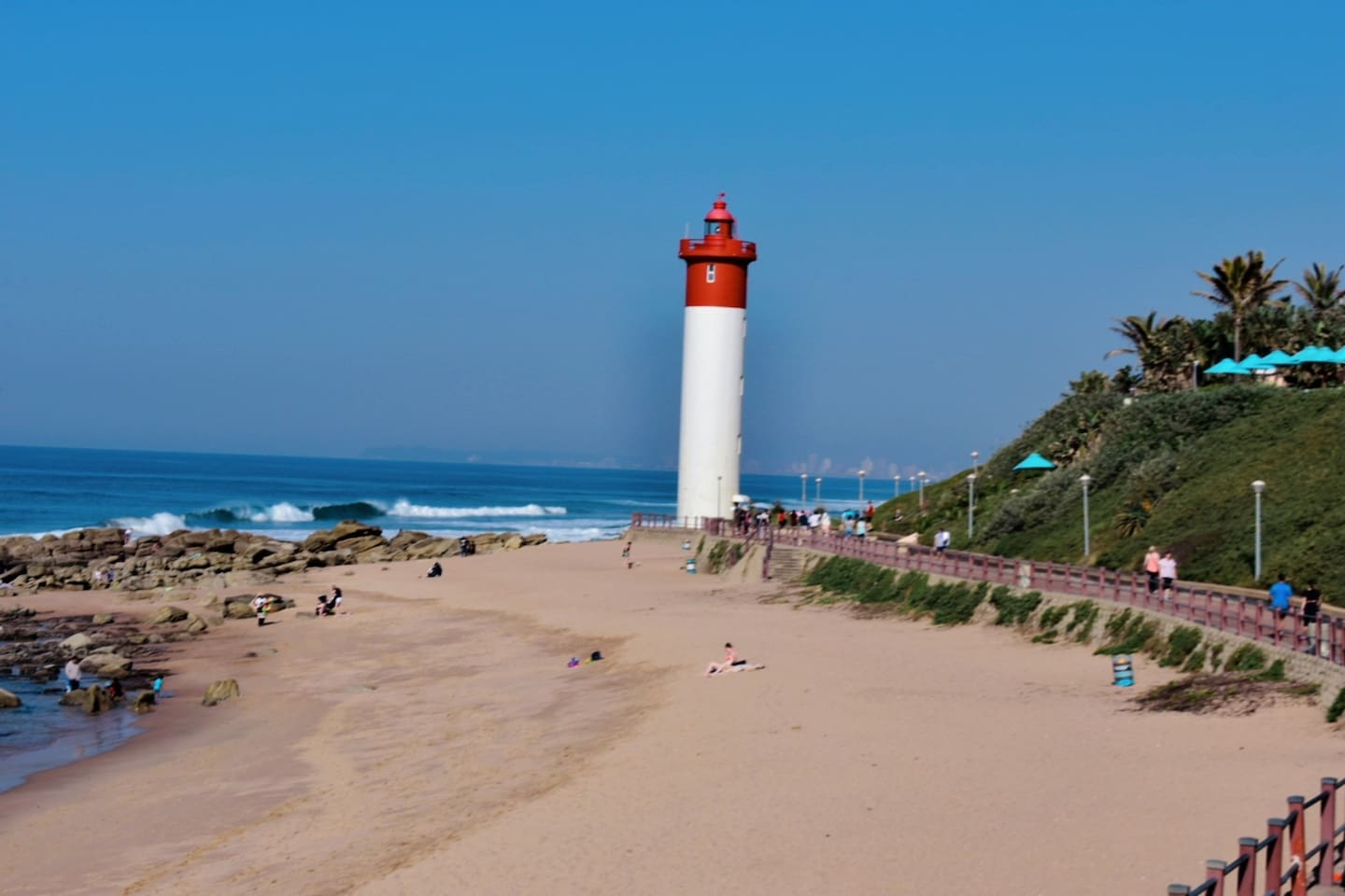 This is a picture of the famous lighthouse on Umhlanga rocks beach, the beach is within a 3 - 5 minutes walking range