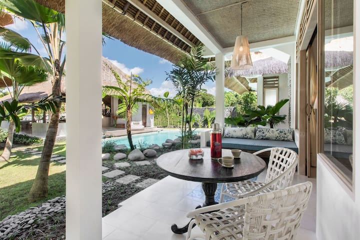 View from veranda to pool.