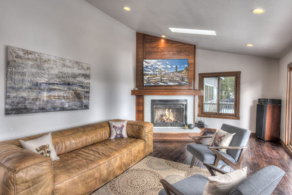 Cozy up next to the fire and watch a movie or read a book!