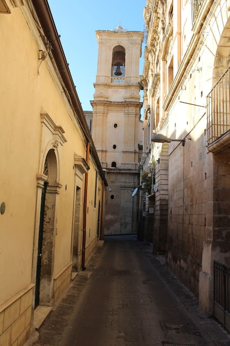 Main Entrance on Via Corrado Occhipinti, on the backyard of St. Domenico Church.
