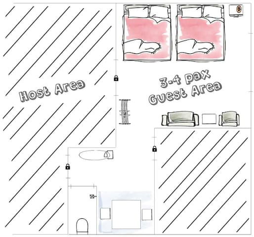 Guesthouse bed arrangements for three to four guests