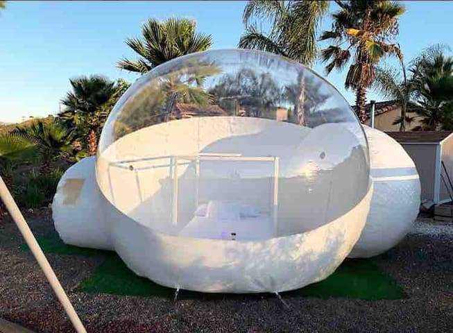Bubble tent glamping with a resort style backyard!