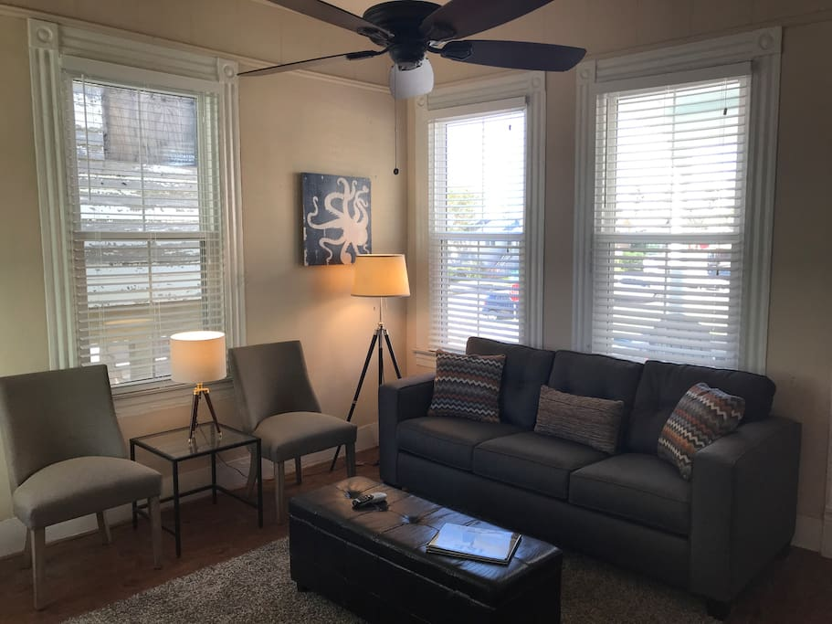 """Living room view one. Queen sized sleeper sofa, large windows with 2"""" blinds make this a nice and inviting space."""