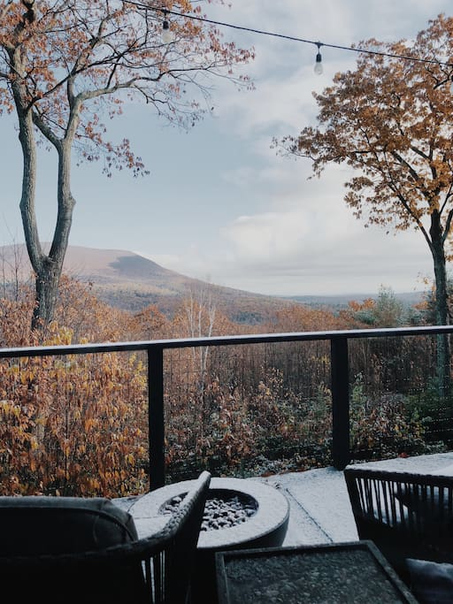 First dusting of snow from the deck (November 2017).