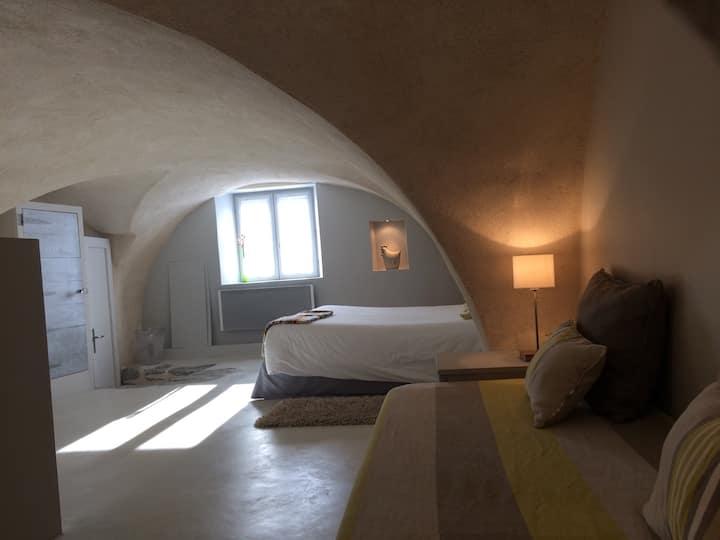 Chambre spacieuse et atypique, très claire, salle de bain avec douche ouverte sur la chambre