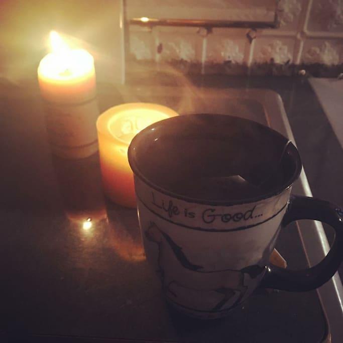 Enjoying a nice mug of tea