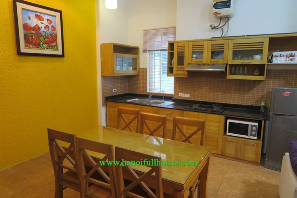 The kitchen and dining table - shared area