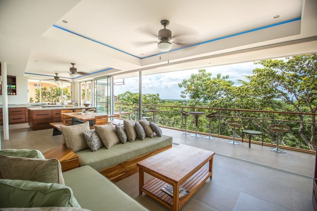 Entering this house will take your breath away. Walk directly into the jungle with panoramic ocean views in background. During dry season, we offer more ocean views. During rainy season (pictured), we offer more jungle views.