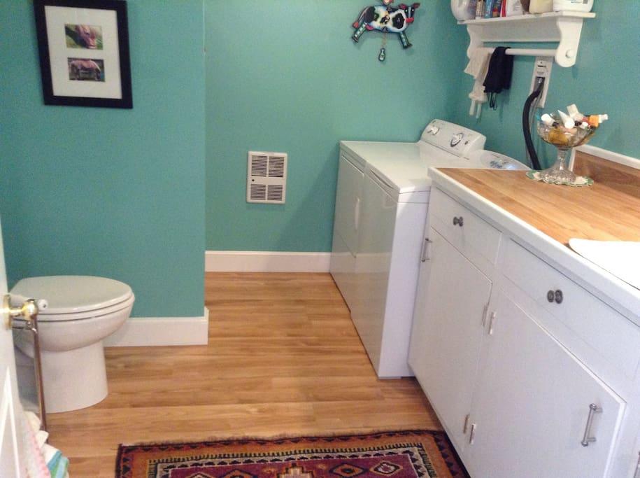 Bathroom, shower is behind toilet wall