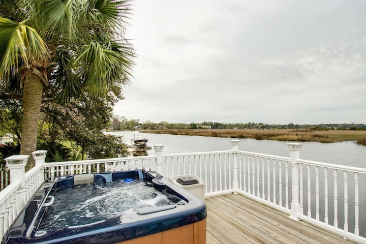 💦WATERFRONT HOT TUB DOCK KING👑SUITE FIRE🔥 PIT B