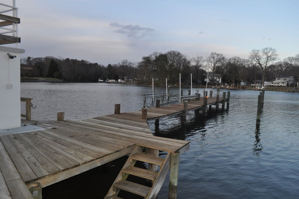 Own private dock with stairs to the beach