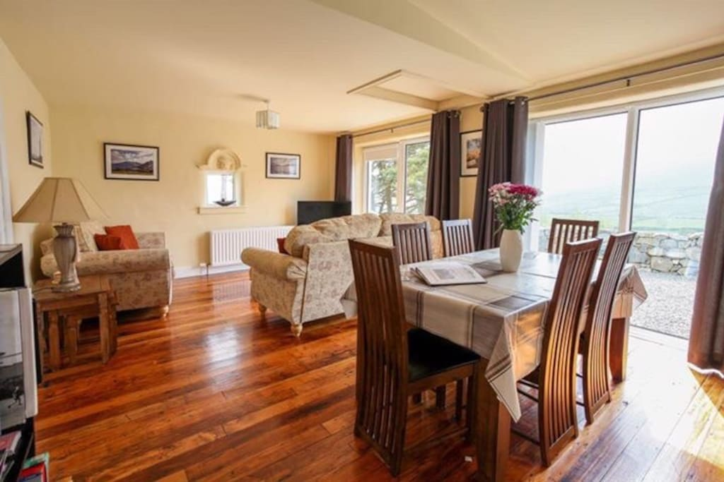 Solid wood flooring and stunning views out towards the Mourne mountains