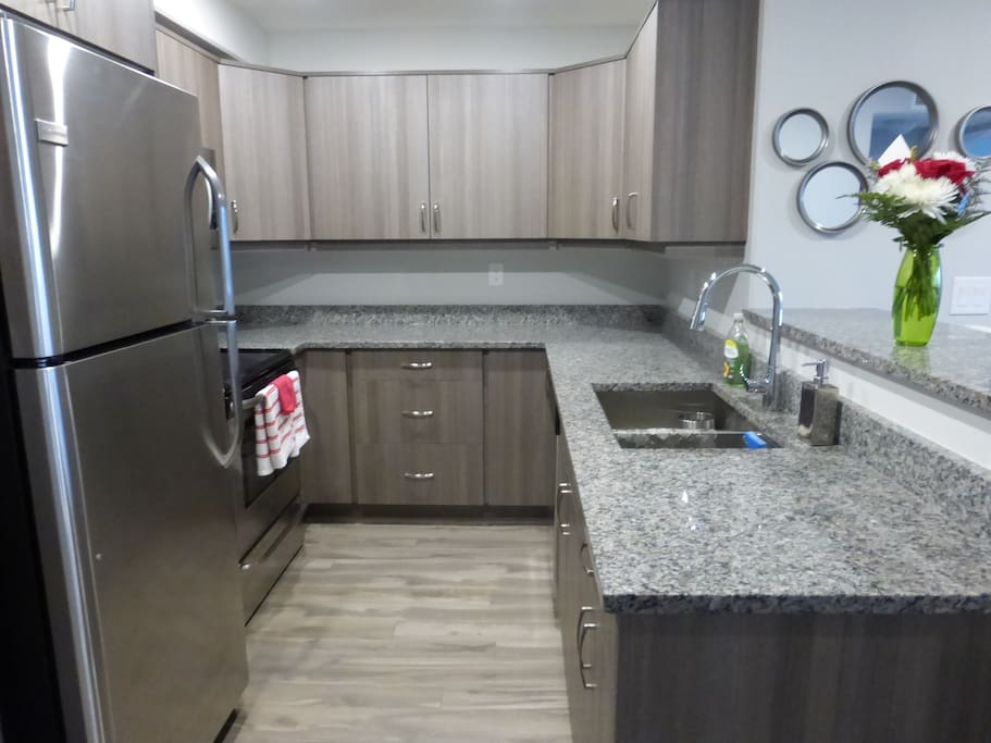 Brand new stainless steel appliances, equipped with the necessities.