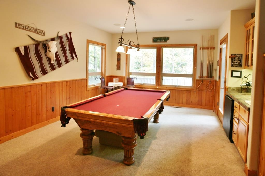Billiards room - with wet bar and beverage refrigerator