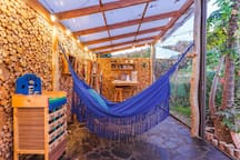 Inside our deck - hammock - game area / Dentro de nuestro deck de hamacas y zonas de juego
