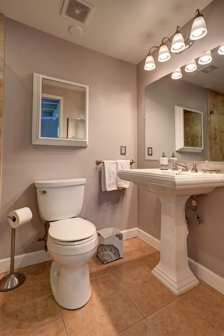 Master bath completely remodeled, clean and fresh