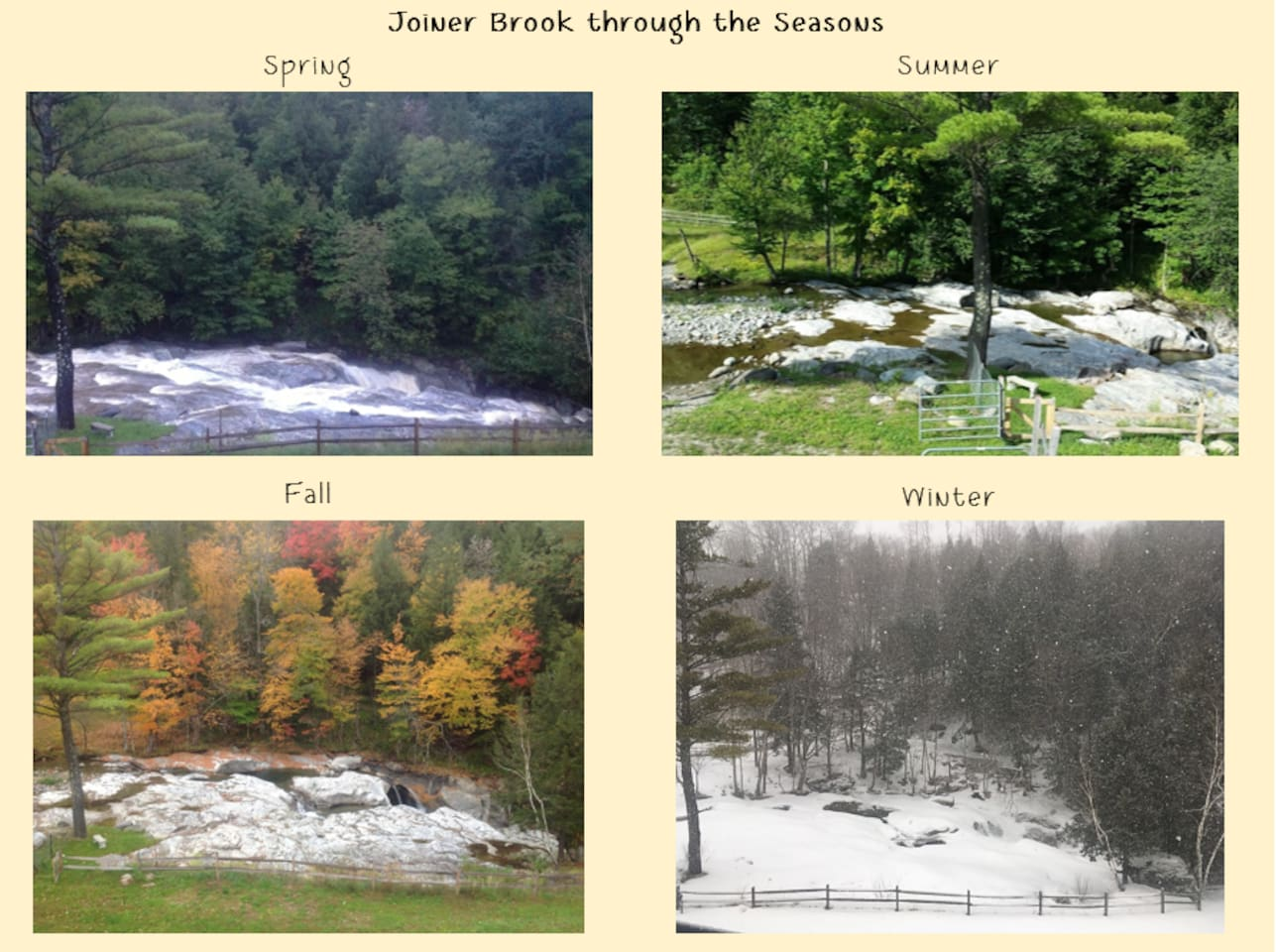 Seasonal view of the Joiner Brook from the Black Barn Farm
