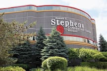 Donald Stephens Convention Center in Rosemont IL - 3 miles, 8 minutes drive from our home.  Direct Public transportation by: Pace bus 326 ($2.50)