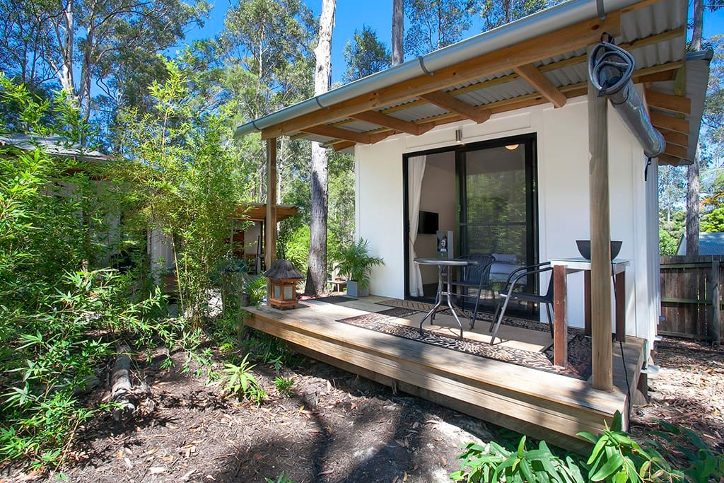 Cabin is easily accessed via board walk and has glass sliding door with fly screen