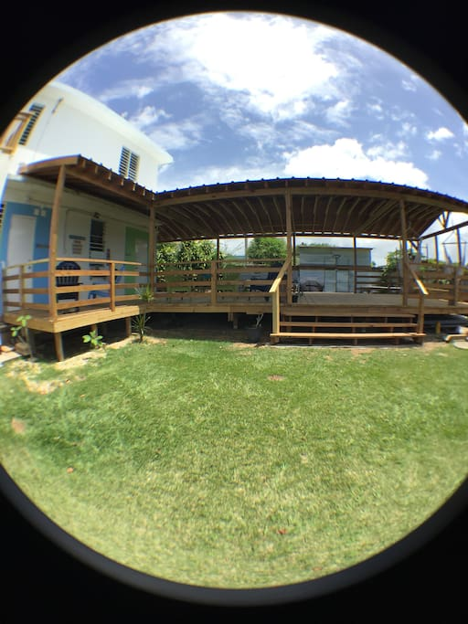 This is the front yard looking at the deck where the studio apartments are located. Studio Azul and Studio Verde share this amazing common area.