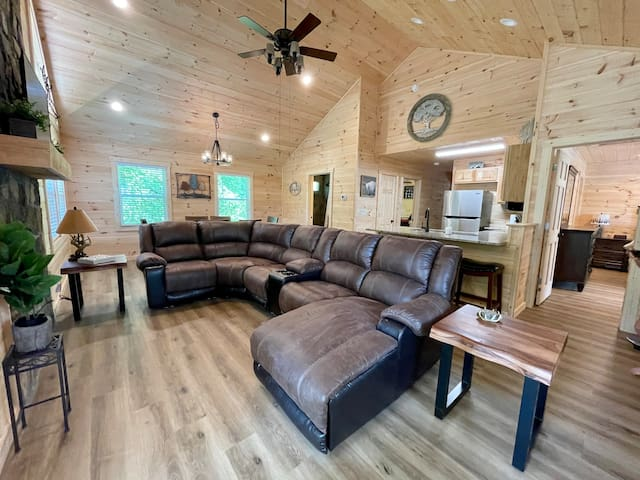 You will relax and gather together on your large couch.