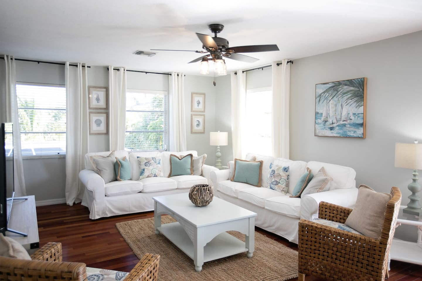 Newly renovated in summer 2018, this home is fully stocked with a full kitchen, grill, linens, baby bed etc. Seating in dining room for 10 and outdoor pool seating for 10. Electric six seater golf cart  included in your stay. Linen service included!