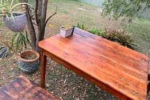 Timber outdoor setting