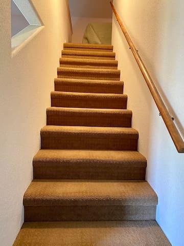 Stairs to sleeping loft #watchyourhead