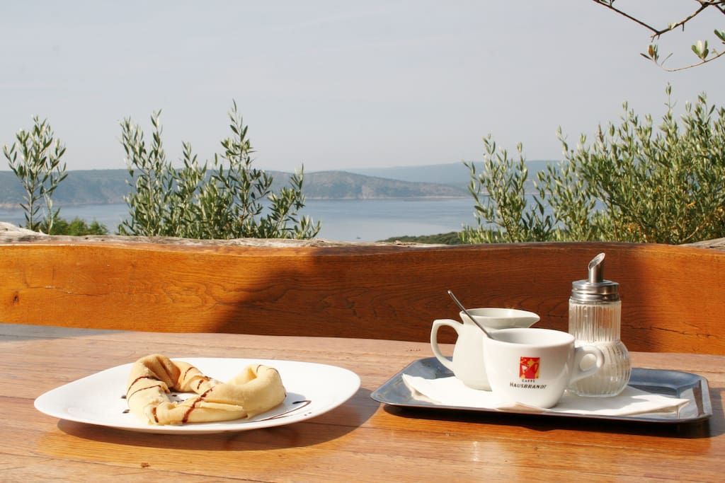 View from the terrace with pancakes & coffee for breakfast