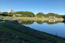 The picturesque view at the marina of Royal Pines Resort golf course community.