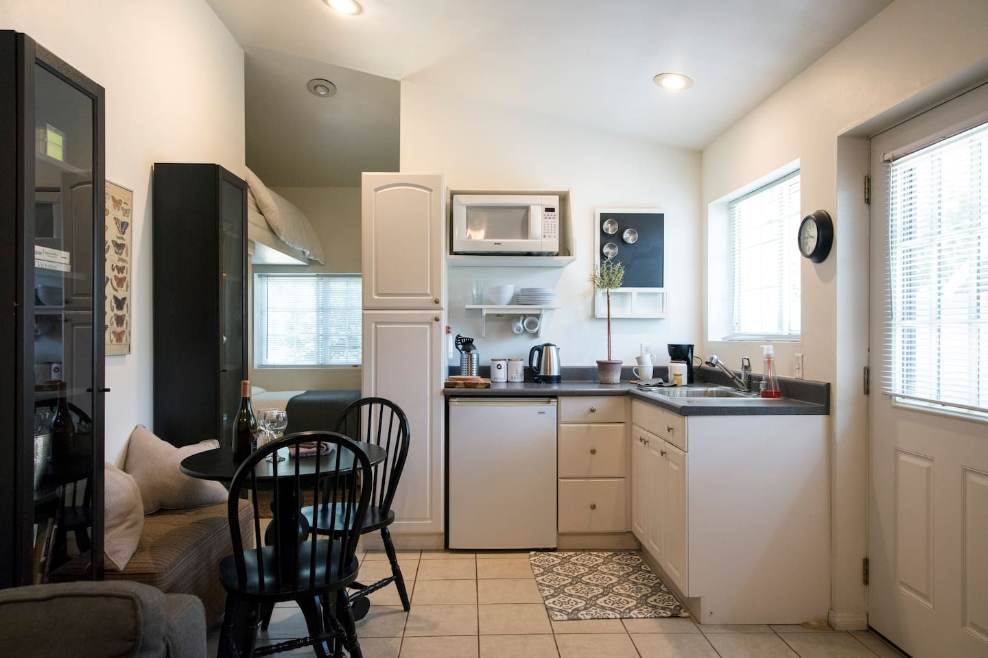 Parker Guest Studio.  Private entrance with living room, kitchenette, bathroom, with lofted queen and single bed, including designated single parking space.