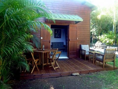 Bungalow cosy avec piscine dans jardin tropical