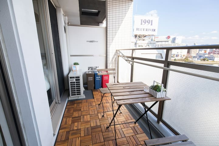 Nice relaxing Balcony Area with view of Nakasu River and Canal City