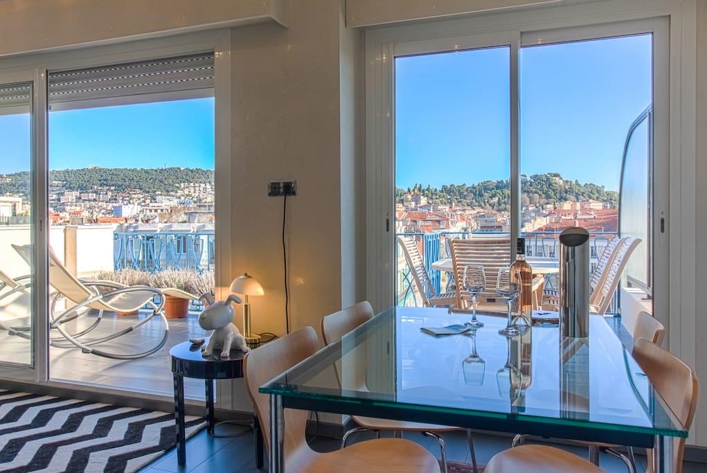 Another view from the terrace from the dining/living room - Autre vue de la terrasse depuis la pièce principale