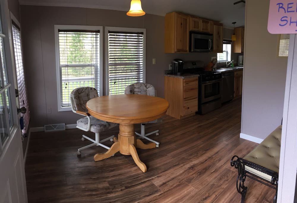 Entrance to home with 2 person kitchen table