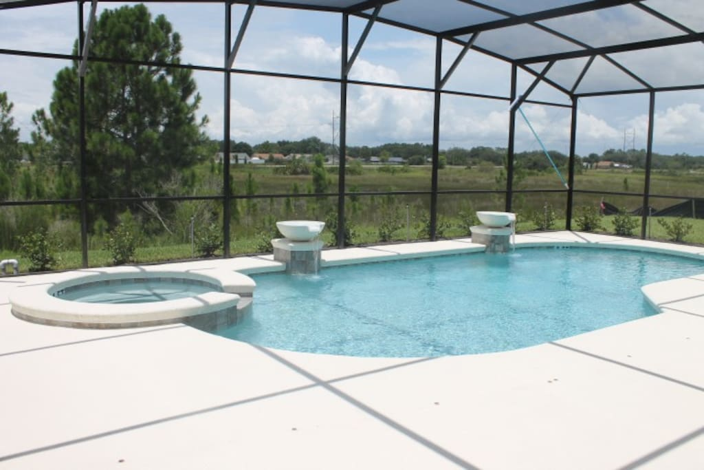 Oversized Pool Deck Overlooking Beautiful Conservation View