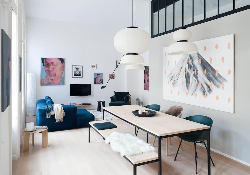 spacious living room, real art work