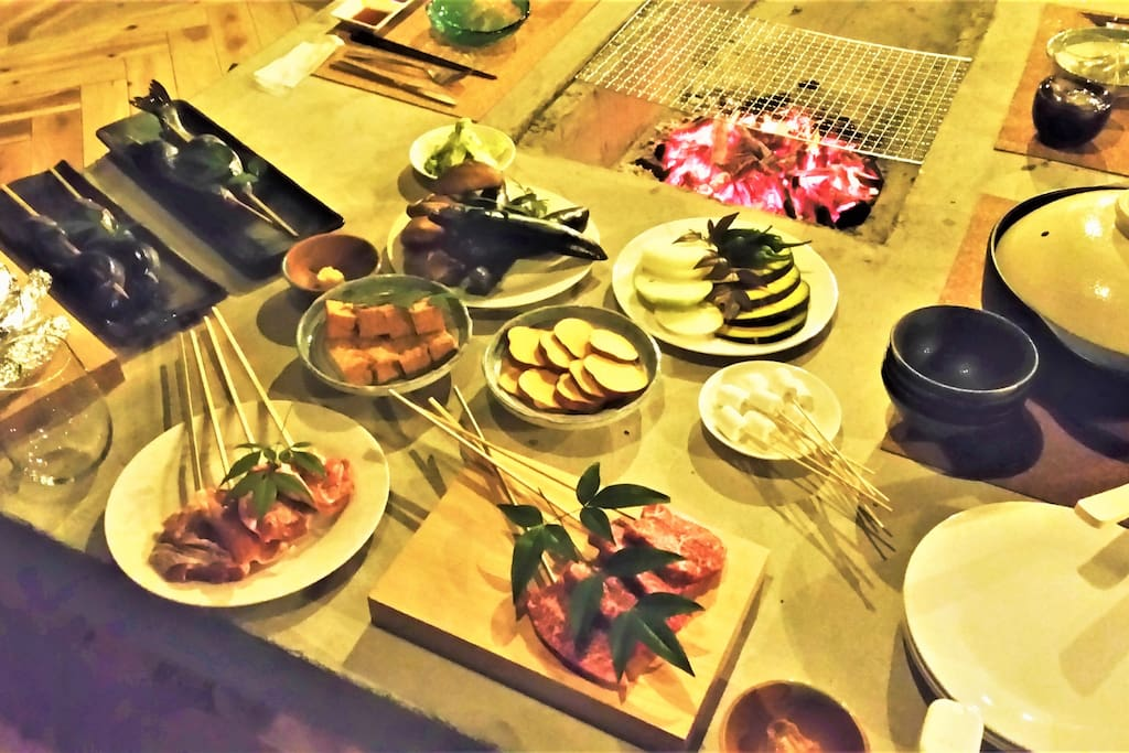 夕食 囲炉裏料理