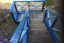 Stairs to the laundry and to the small beach
