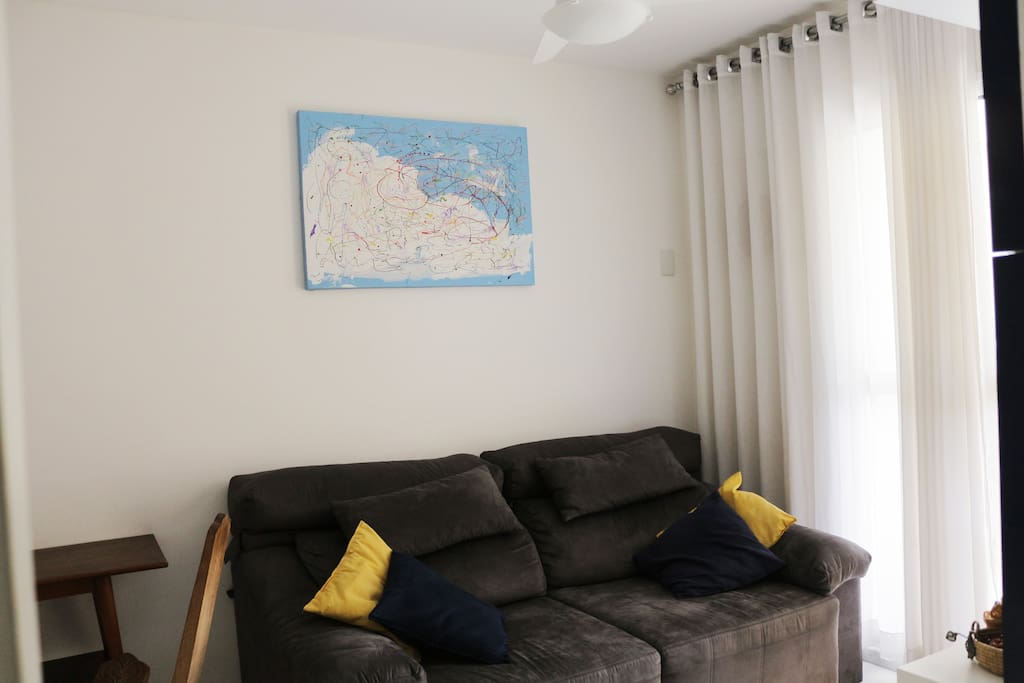 Sala, sofá, está fechado, aumenta 60cm