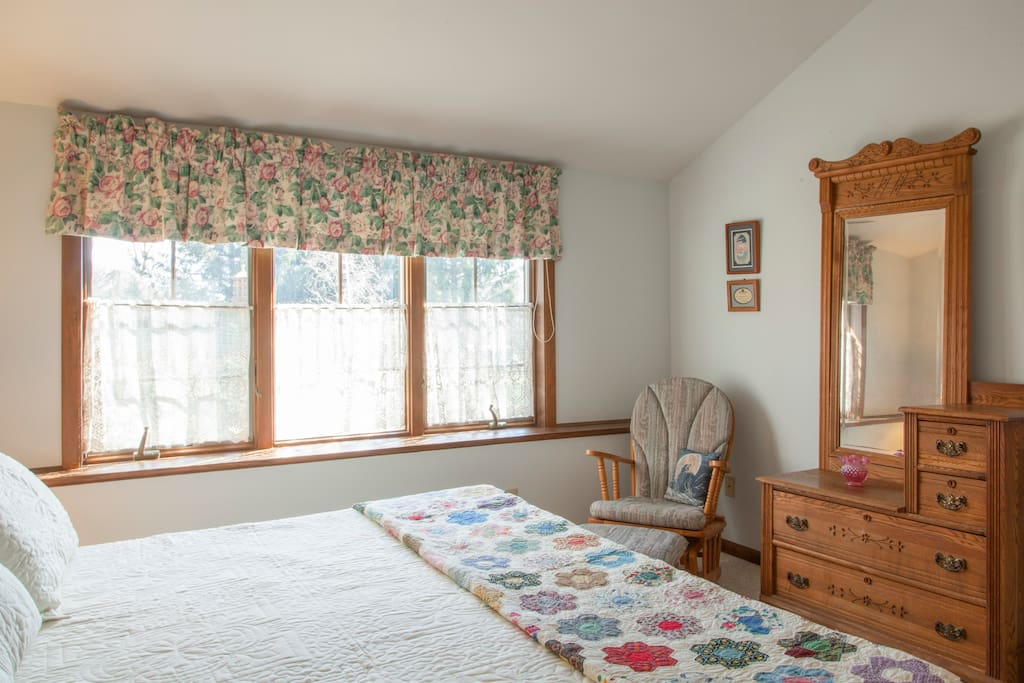 Comfortable King size memory foam bed with lovely view of gardens.
